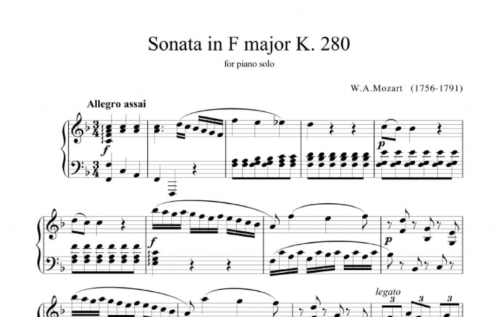 tonalità sonata in fa maggiore mozart